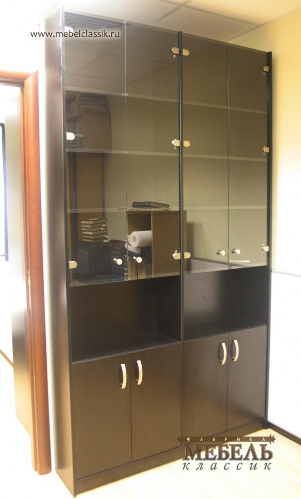Книжный шкаф со стеклянными дверцами купить мебель в москве,.