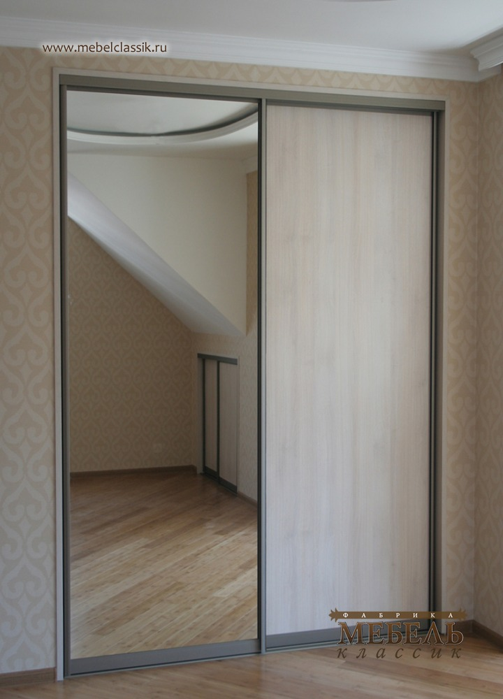 Двухдверный шкаф купе с зеркалом фото.